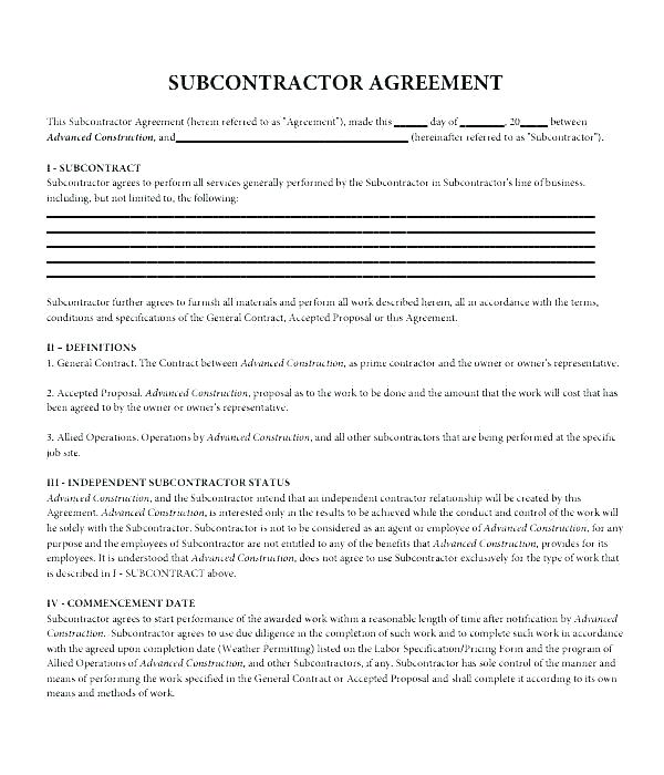 Subcontractor Contract Template Uk