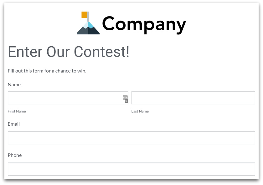 Sweepstakes Entry Form Template