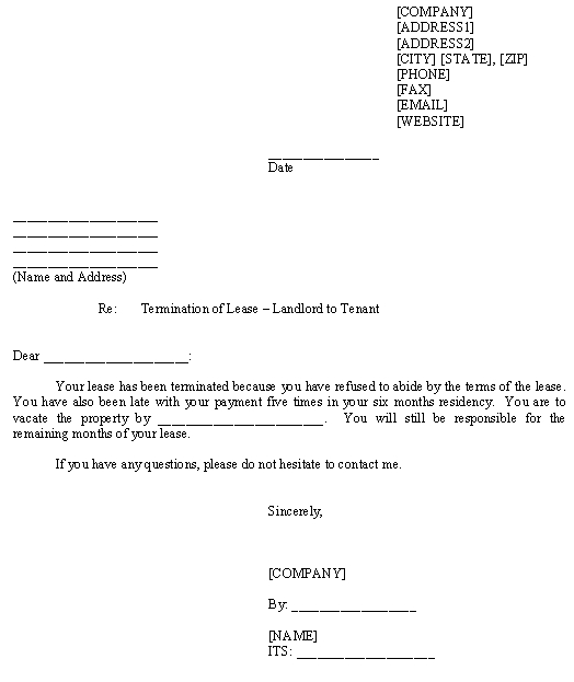 Template For Termination Of Lease
