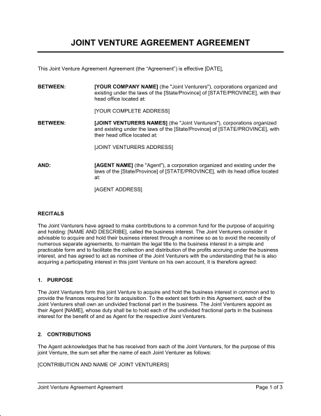 Template Joint Venture Agreement Sample