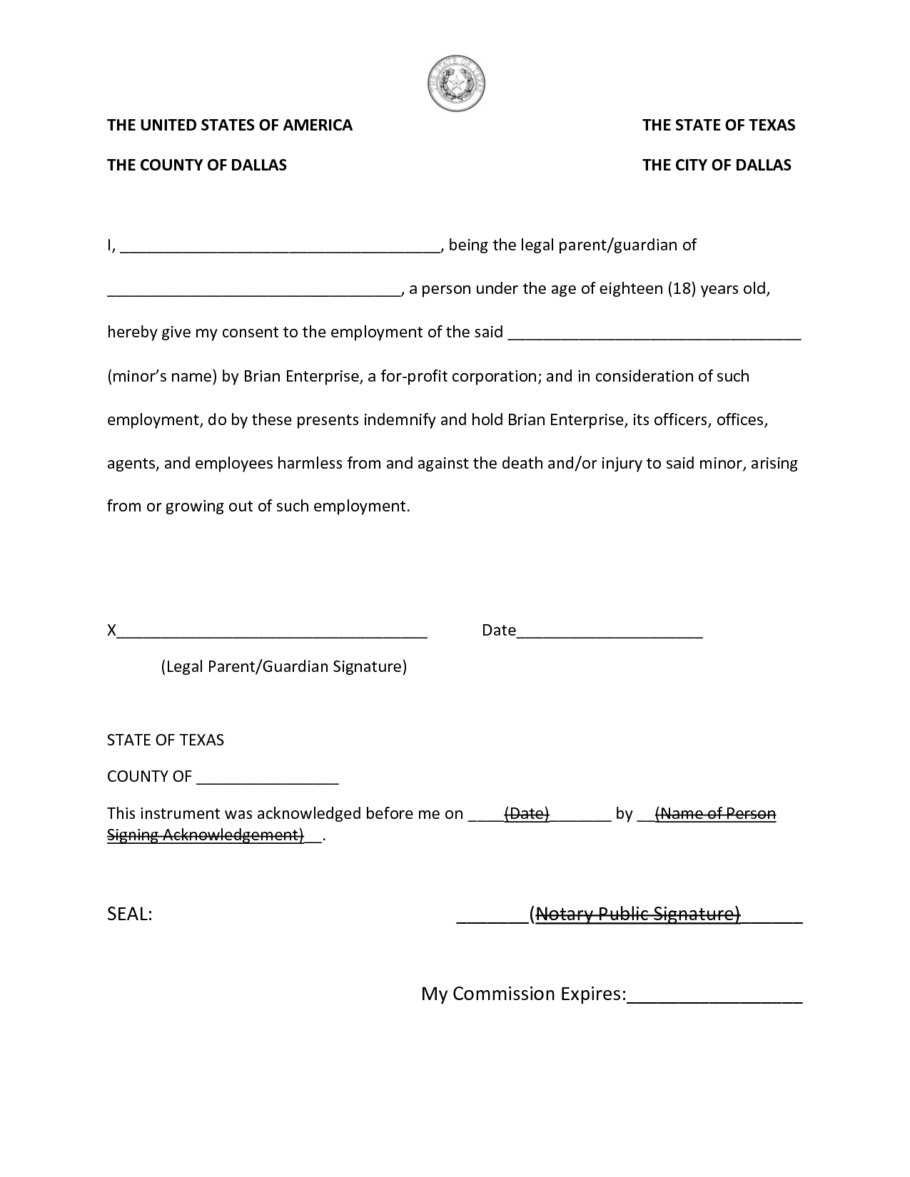 Template Notary Form Texas