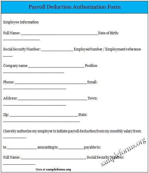 Template Payroll Deduction Authorization Form