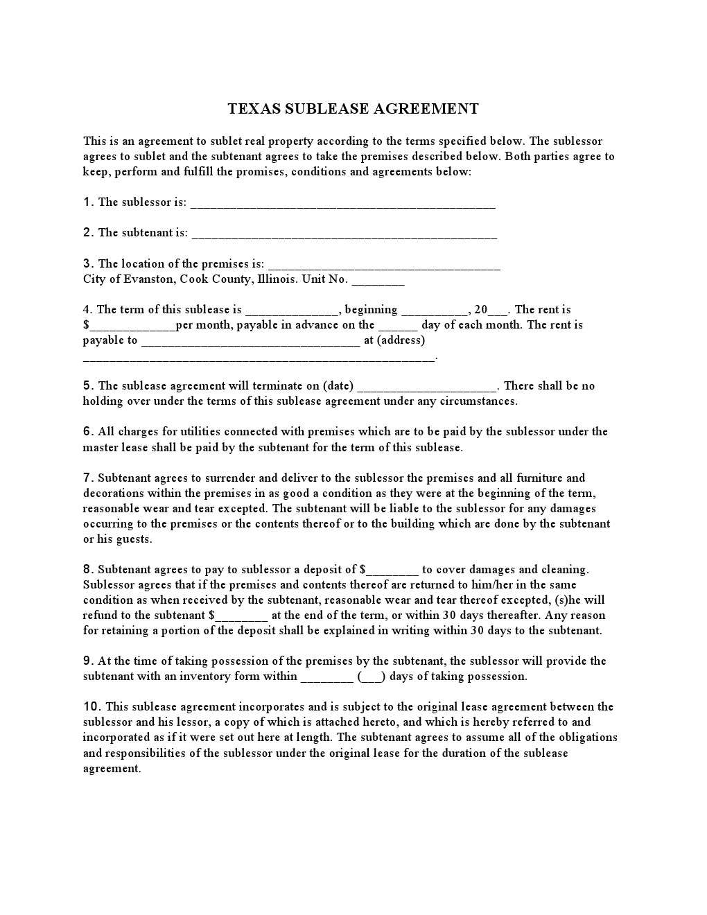 Template Rental Lease Agreement Texas