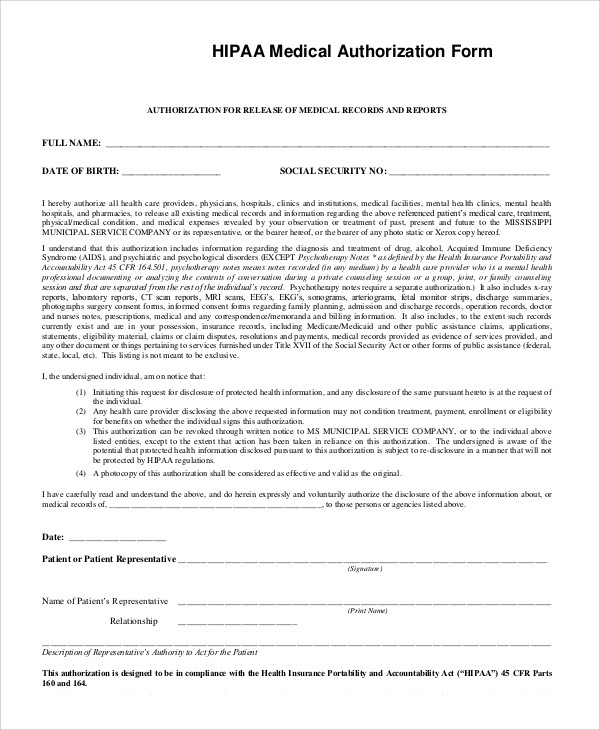 Hipaa Release Form Template Unique Sample Hipaa Form 9 Examples In Pdf Word
