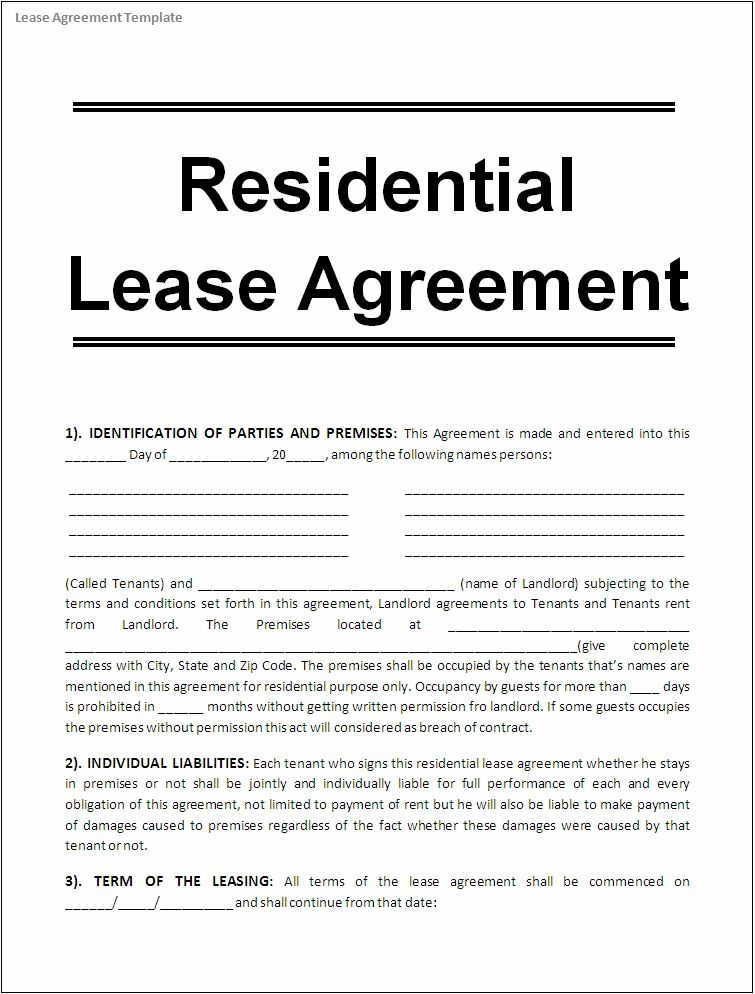 Template Sample Lease Agreement