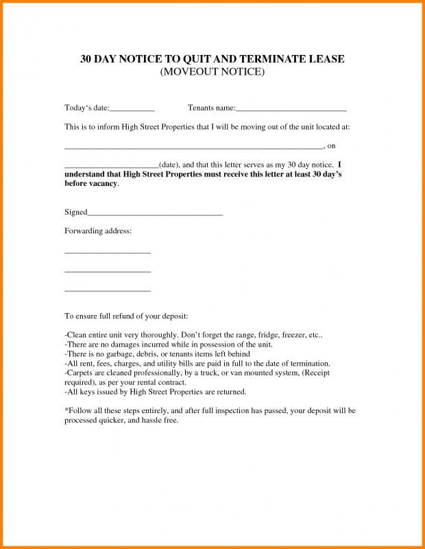Tenant Lease Termination Template