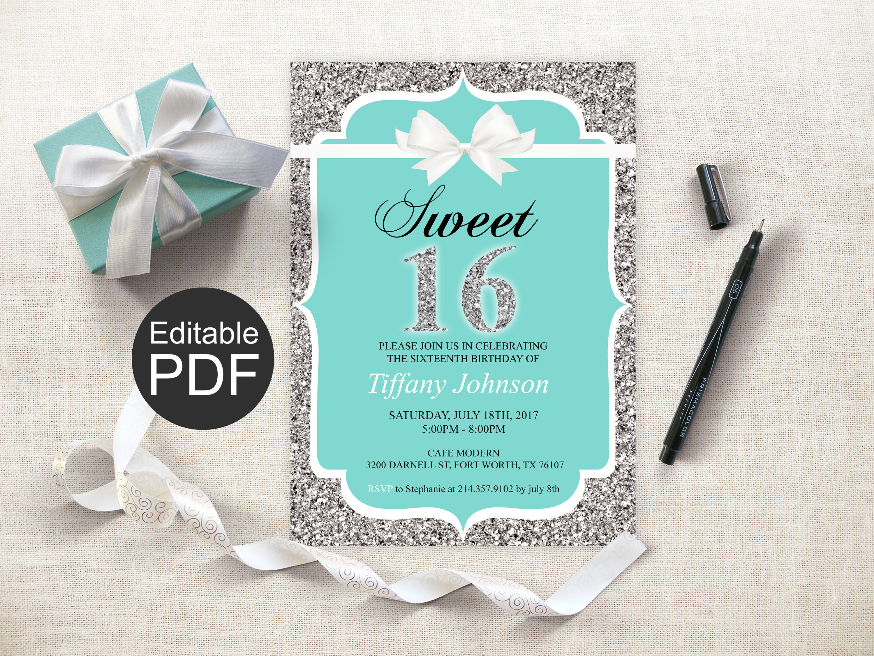 Sweet 16 Invitation Template Blue Sweet Sixteen Invites Etsy In Sizing 3000 X 2250