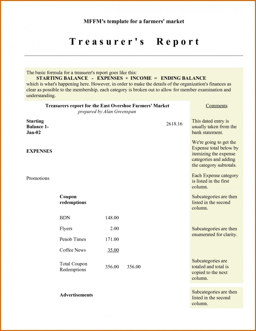 Treasurer's Report Template For Nonprofit Organization