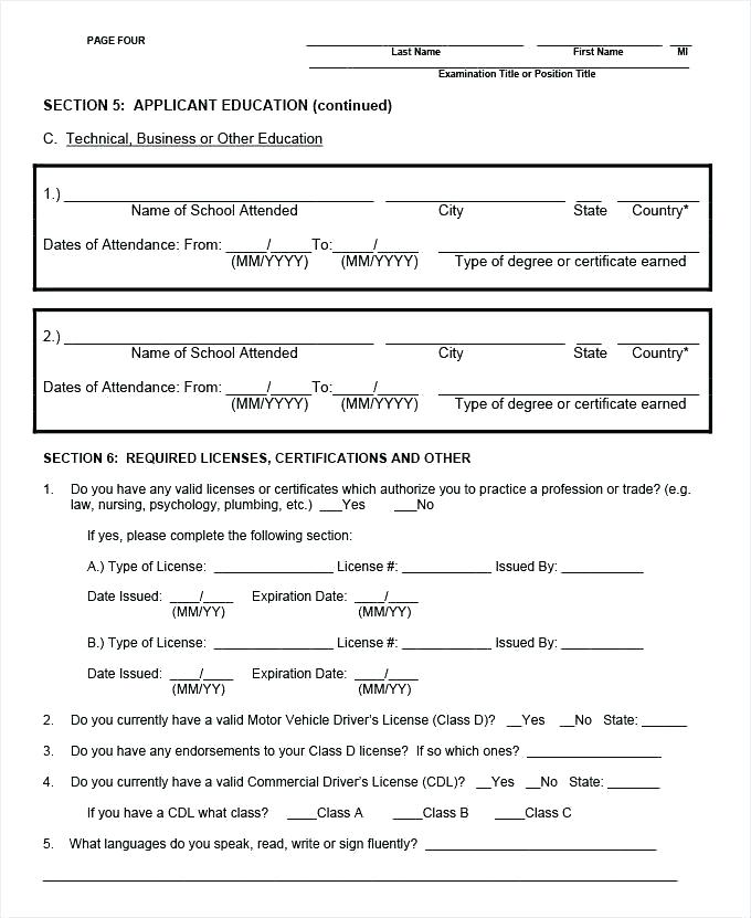 Truck Driver Employment Application Form Template