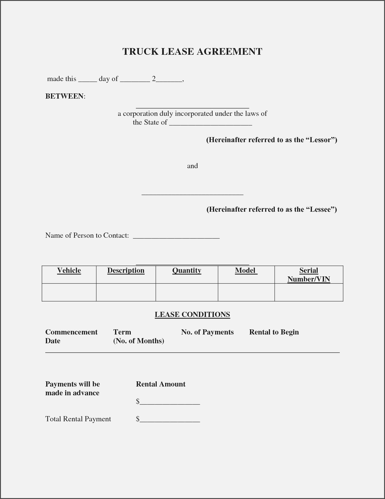 Tractor Trailer Lease Agreement Form