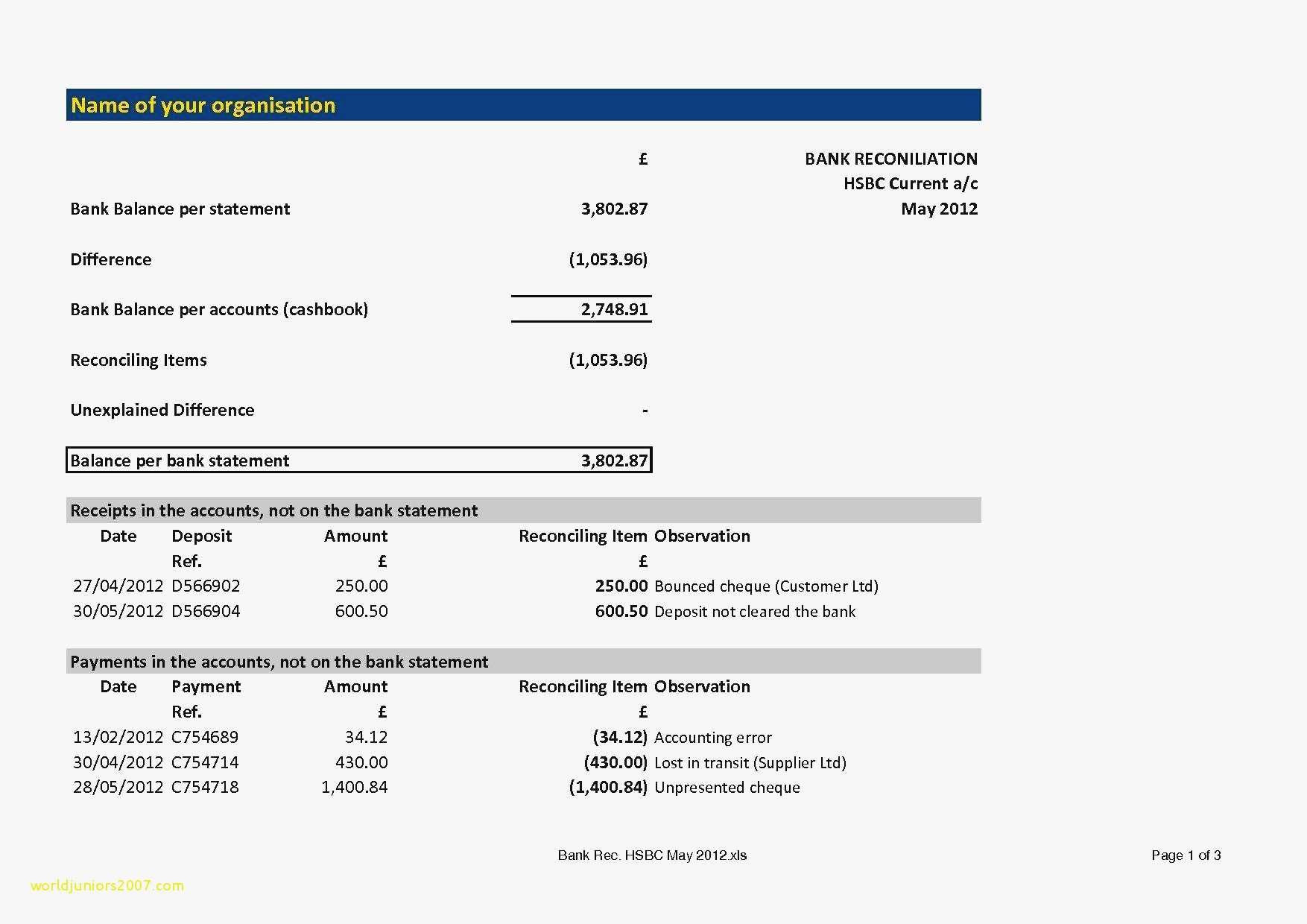 Free Bank Statement Template And Trust Account Reconciliation Template Cam Reconciliation Templates