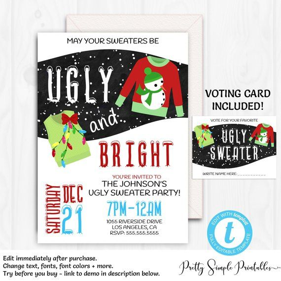 Ugly Christmas Sweater Invitation Template