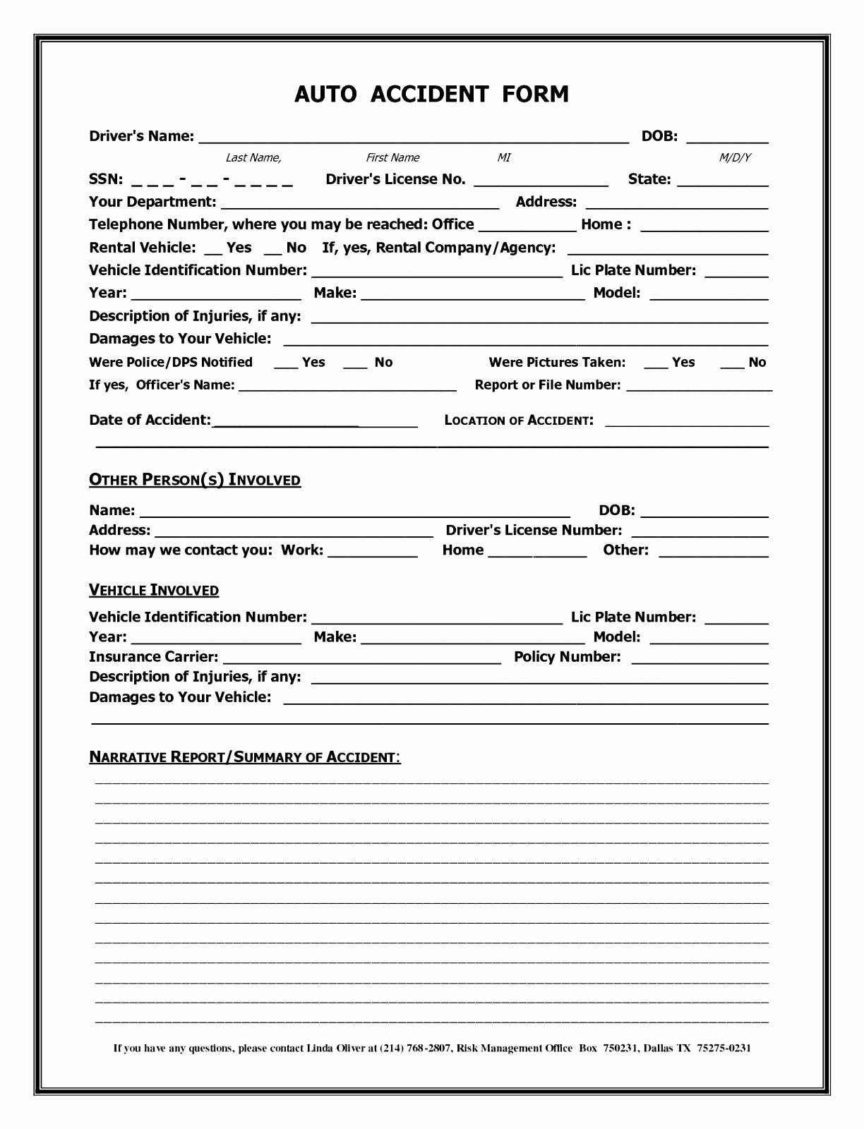 Vehicle Accident Report Form Template Uk