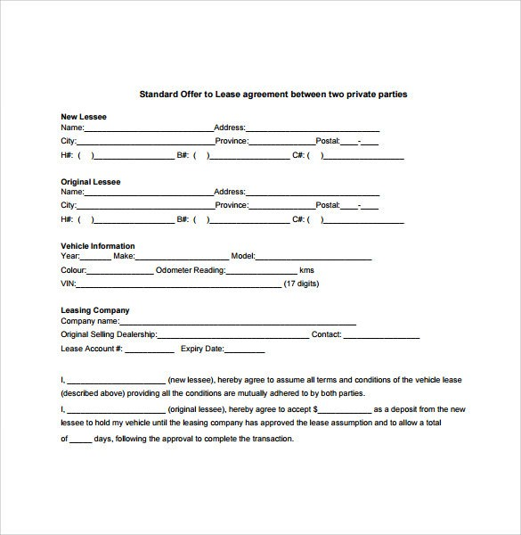 Vehicle Lease Agreement Template Vehicle Agreement Between Two Parties