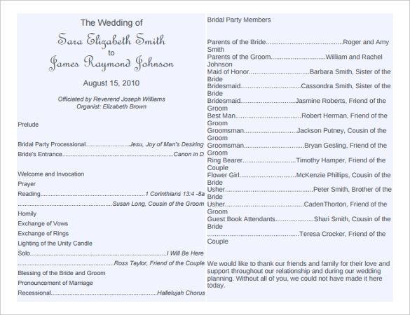 Wedding Bulletin Templates