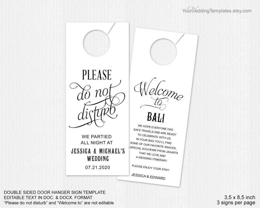 Wedding Door Hangers Template