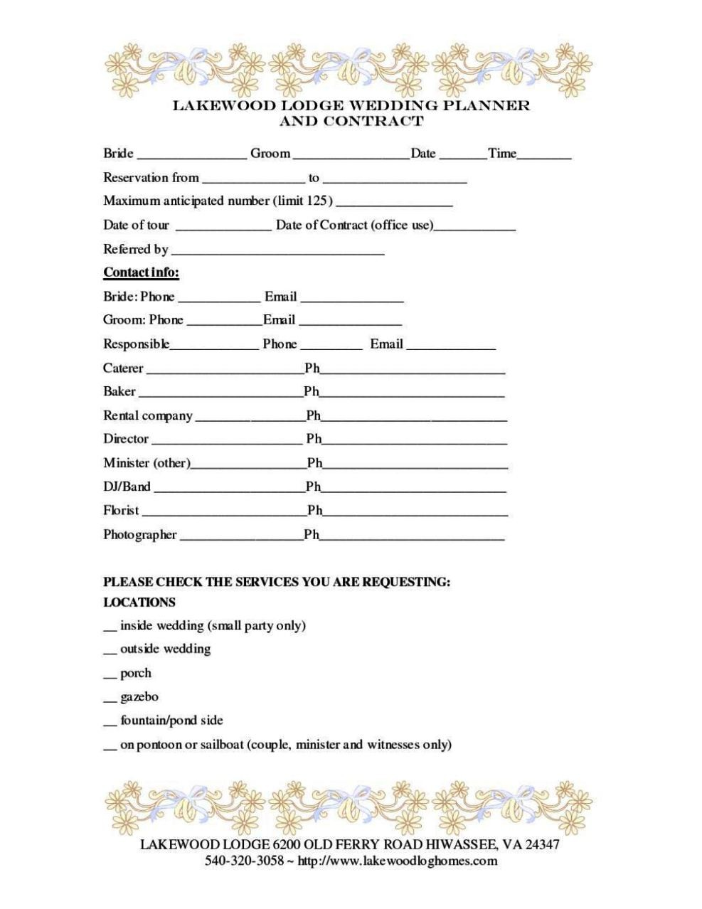 Wedding Florist Contract Sample