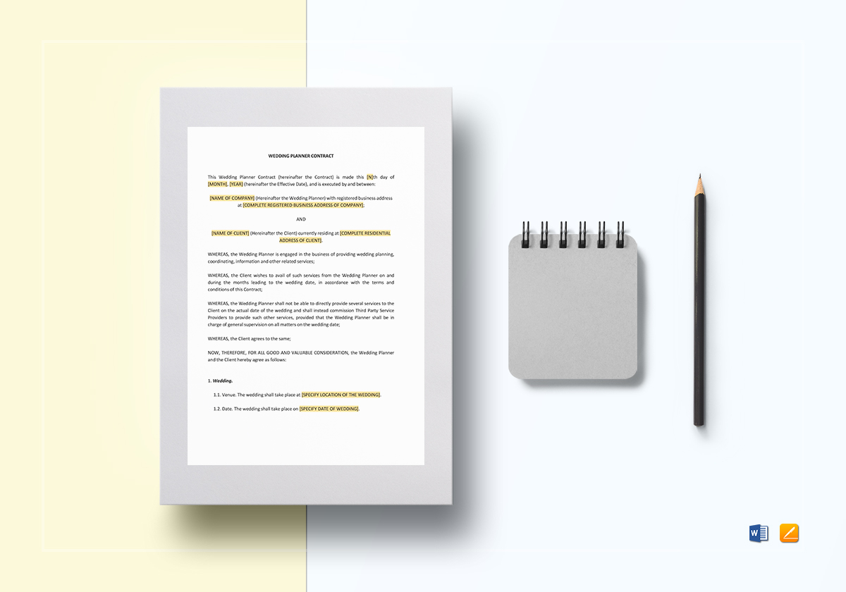 Wedding Planner Contract Template Word