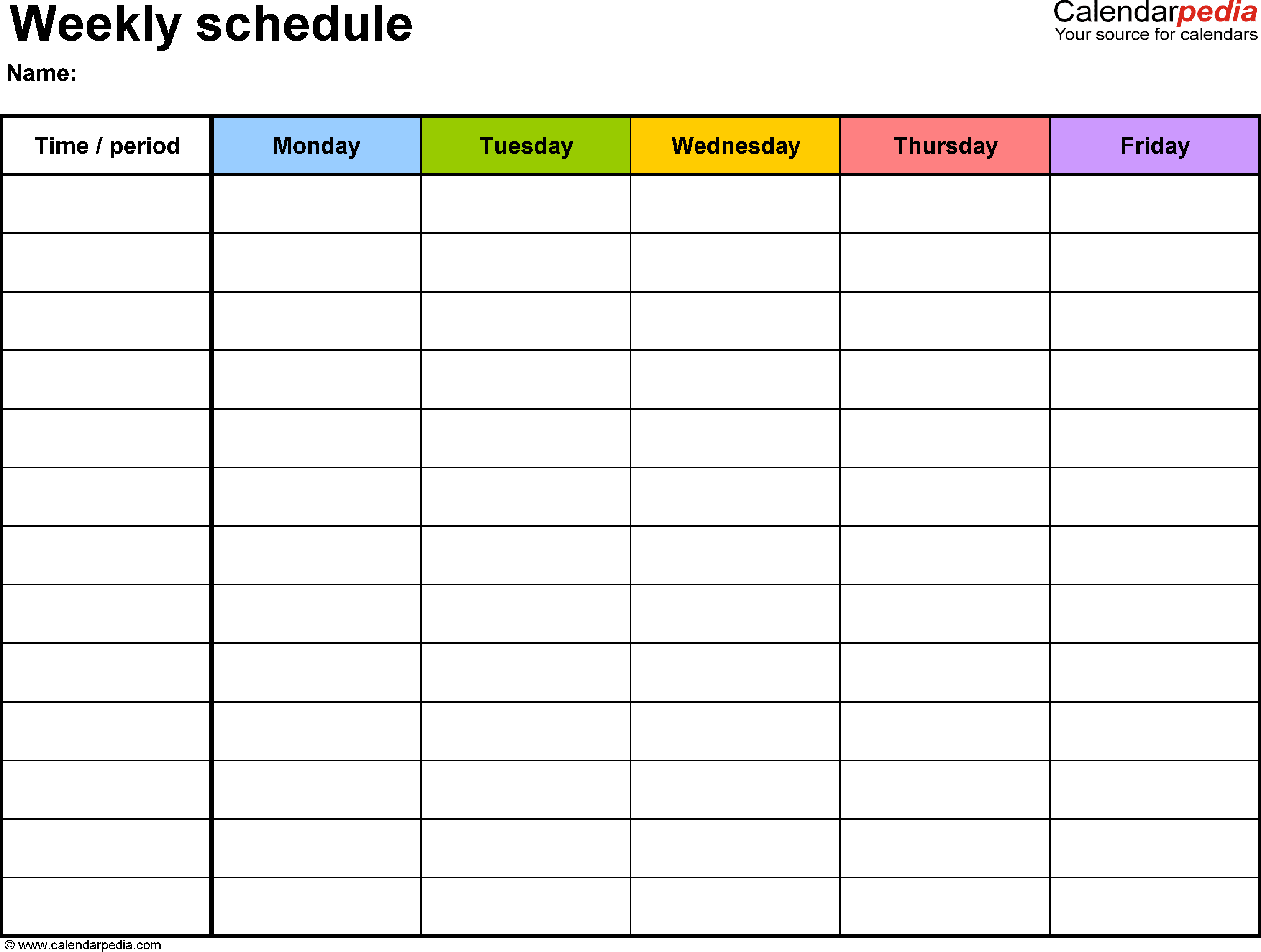 Free Weekly Schedule Templates For Word 18 Templates Throughout Editable Weekly Calendar Template