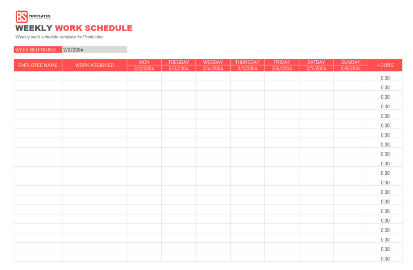 Weekly Monthly Schedule Template Excel