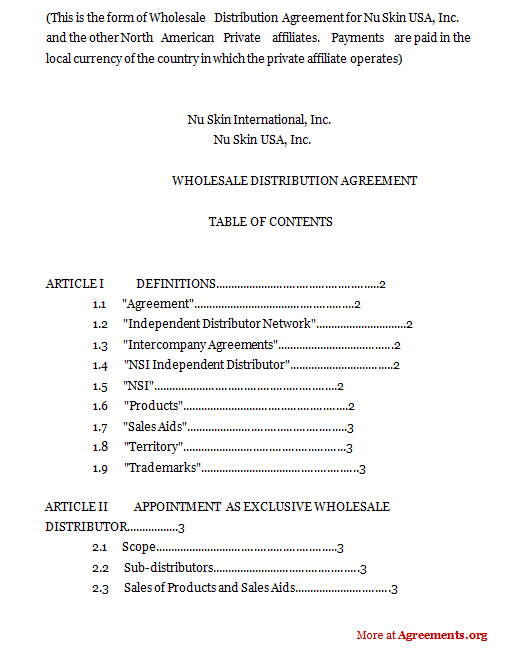 Wholesale Distribution Agreement Template