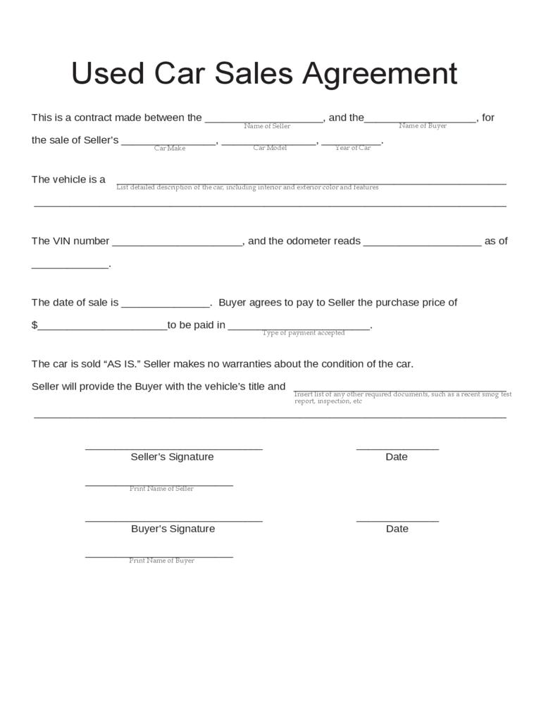 Word Used Car Sales Agreement Template