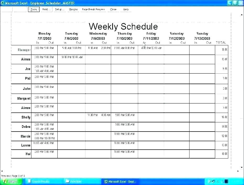 10 Hour Shift Schedule Template Excel