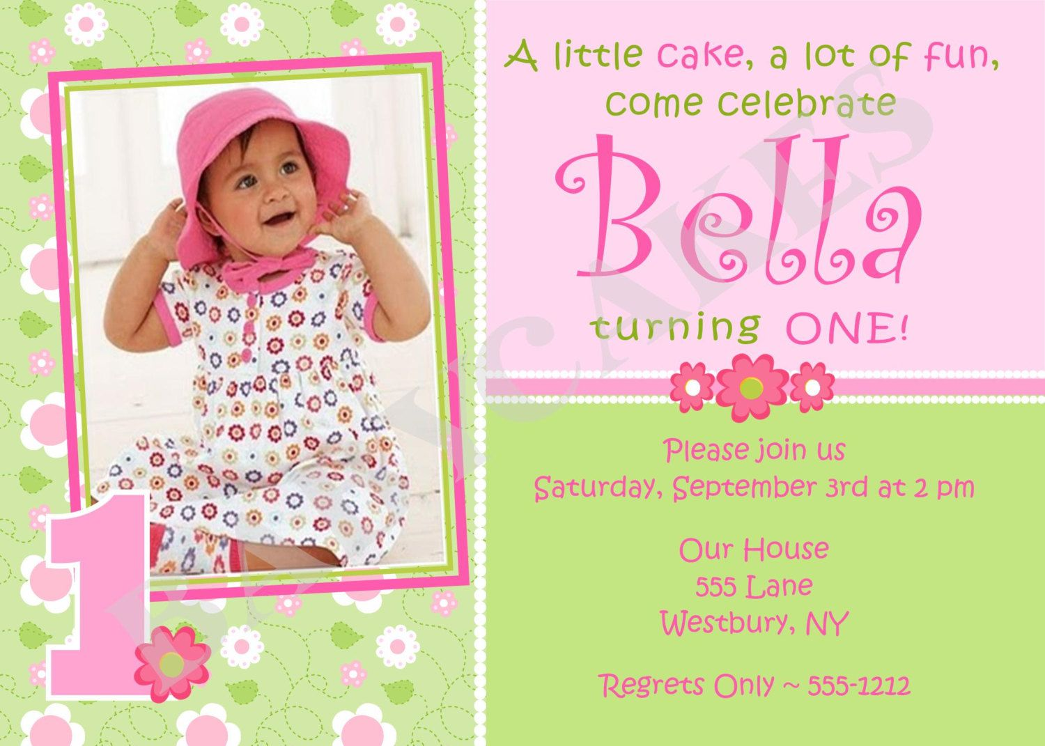 1st Birthday Invitation Girl Template
