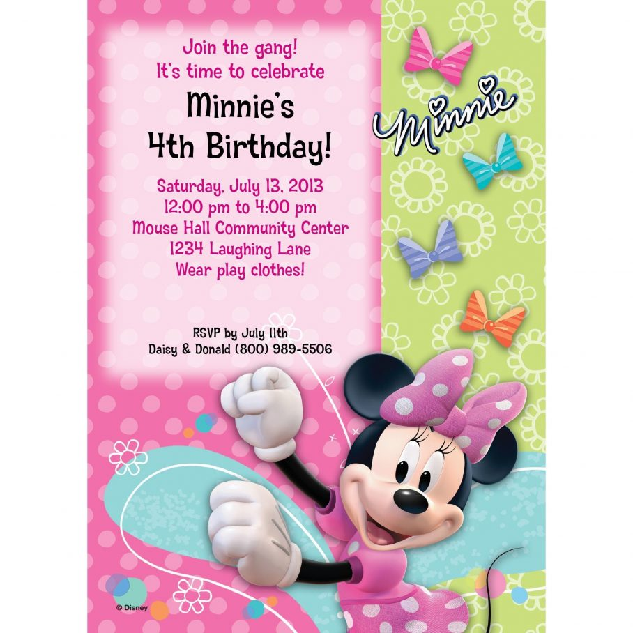 1st Birthday Minnie Mouse Birthday Invitation Template Free Download