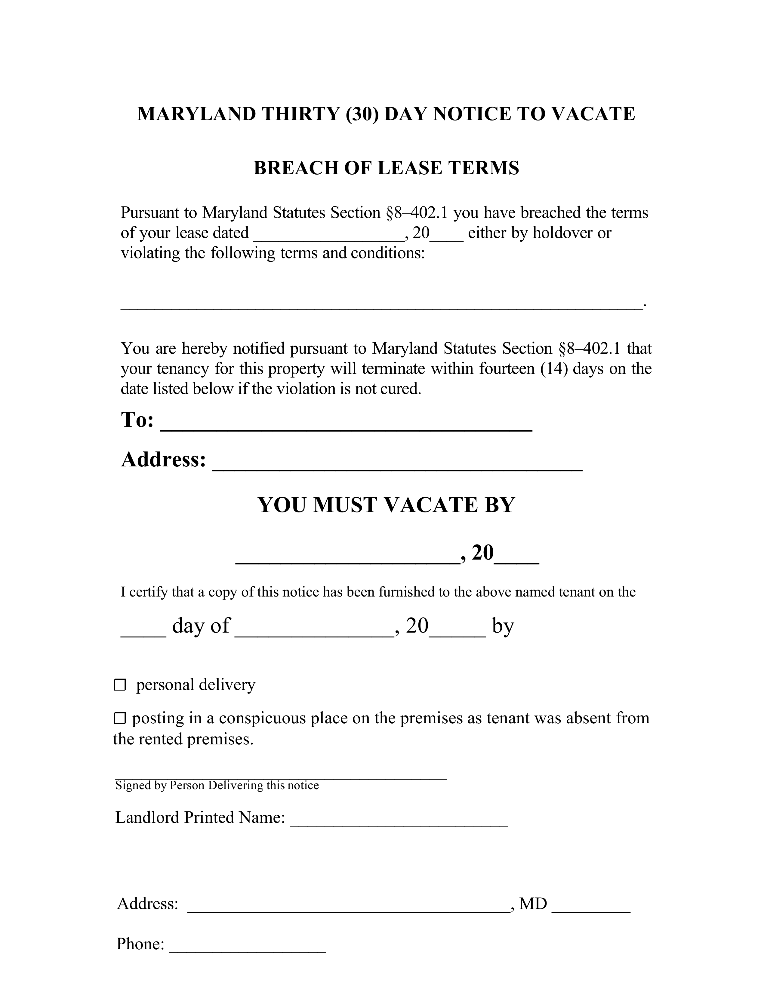 30 Day Eviction Notice Maryland Template
