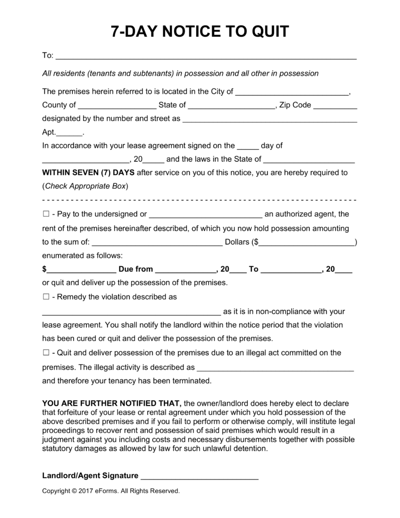 7 Day Eviction Notice Template