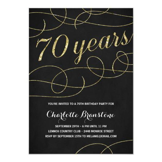 70th Birthday Invitation Card Template