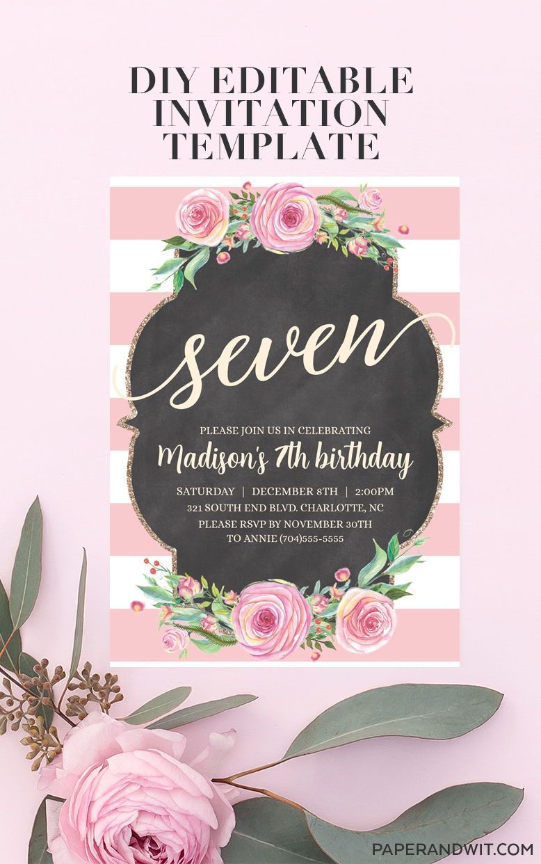 7th Birthday Invitation Template Girl
