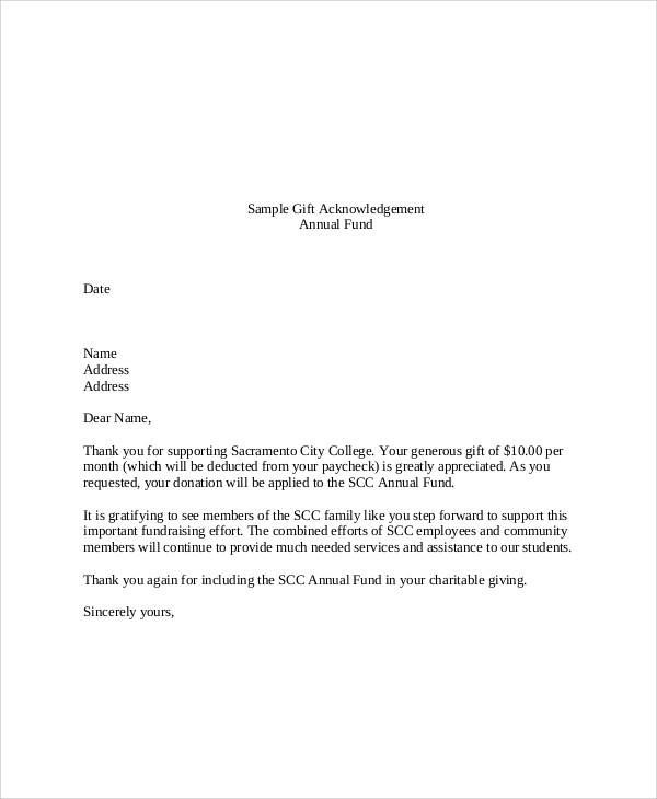 Acknowledgement Donation Receipt Letter Template Word