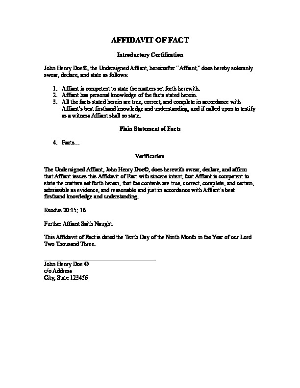 Affidavit Of Fact Template