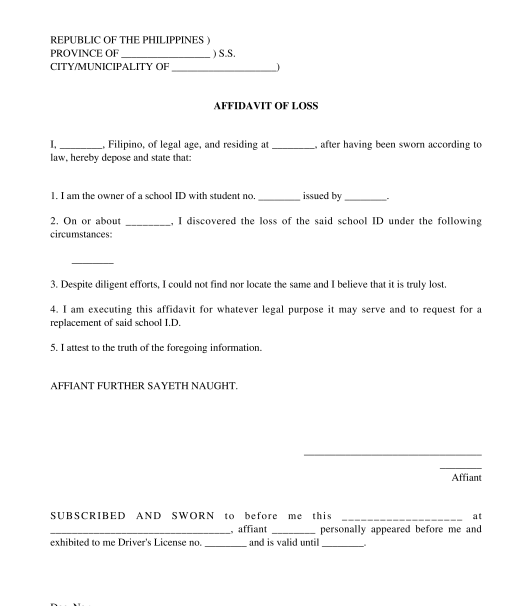 Affidavit Of Loss Template Word Philippines