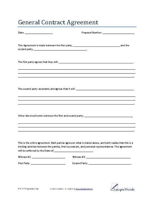 Agreement Blank Contract Template