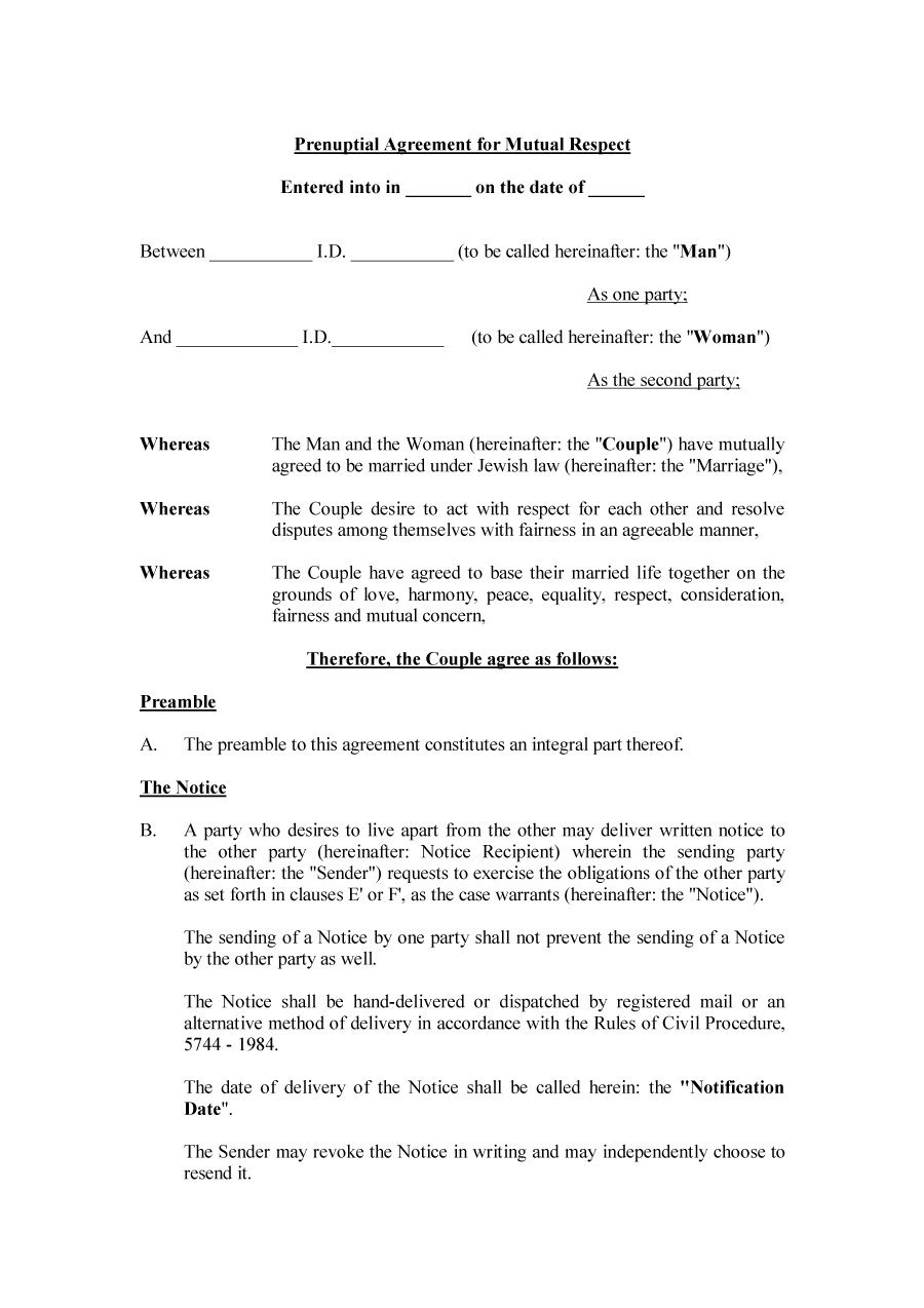 Agreement Form Prenup Agreement Template