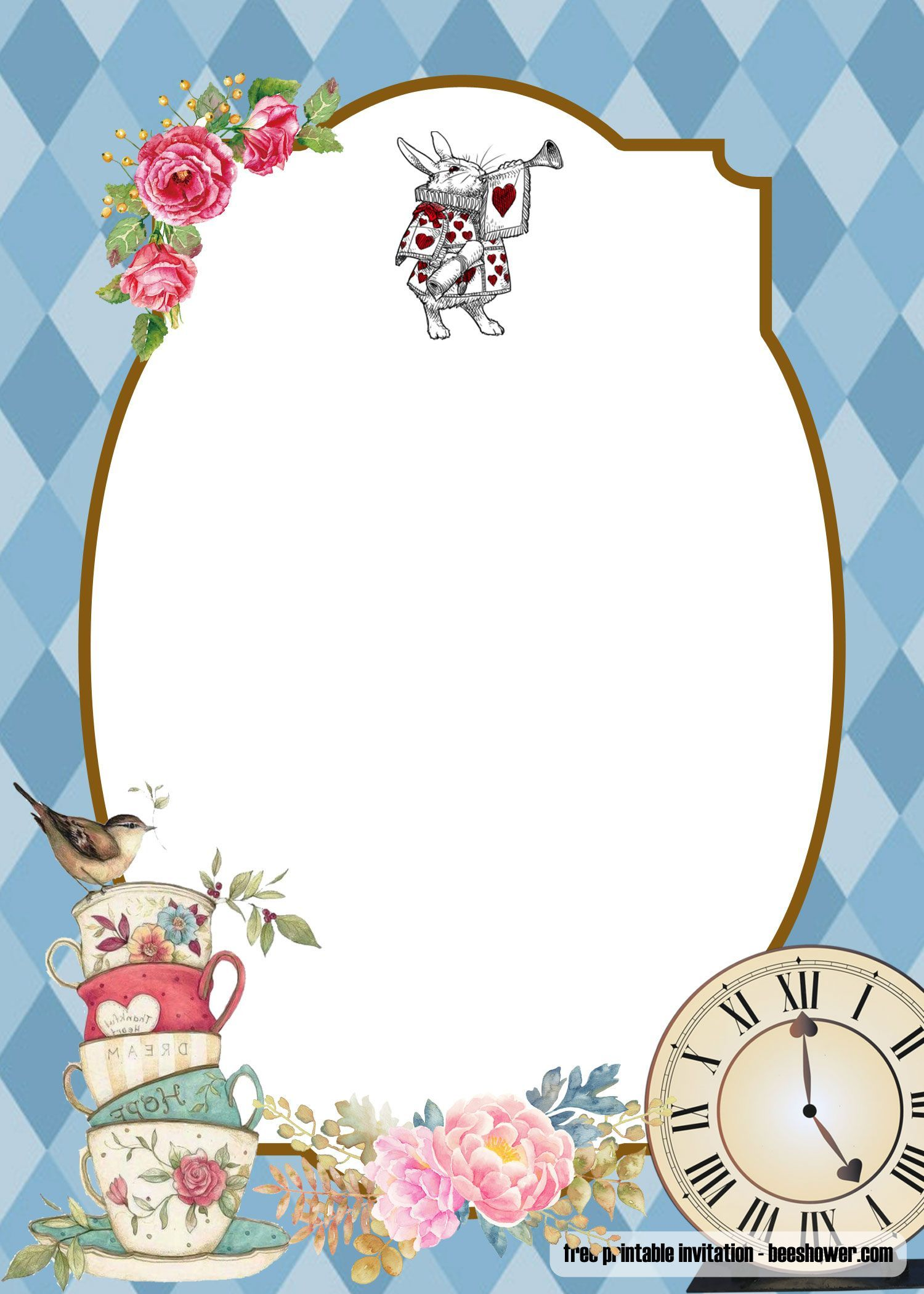 Alice In Wonderland Invitations Templates