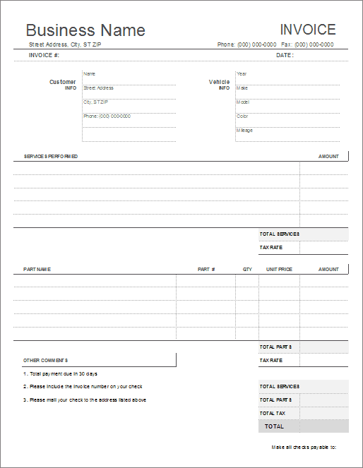 Automotive Repair Invoice Template