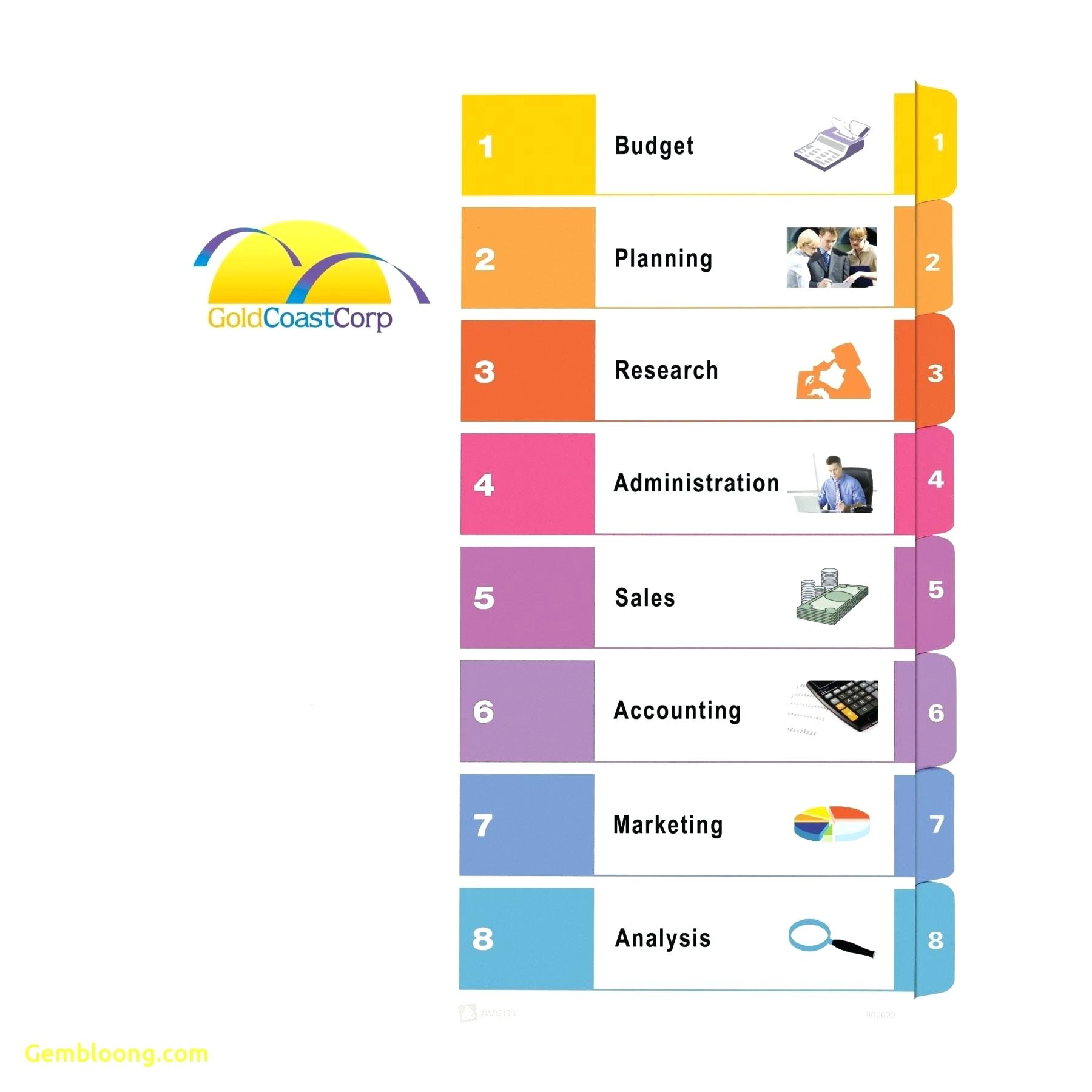 Avery 8 Tab Divider Template Word