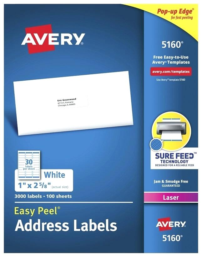 Avery Easy Peel Labels Template 5160