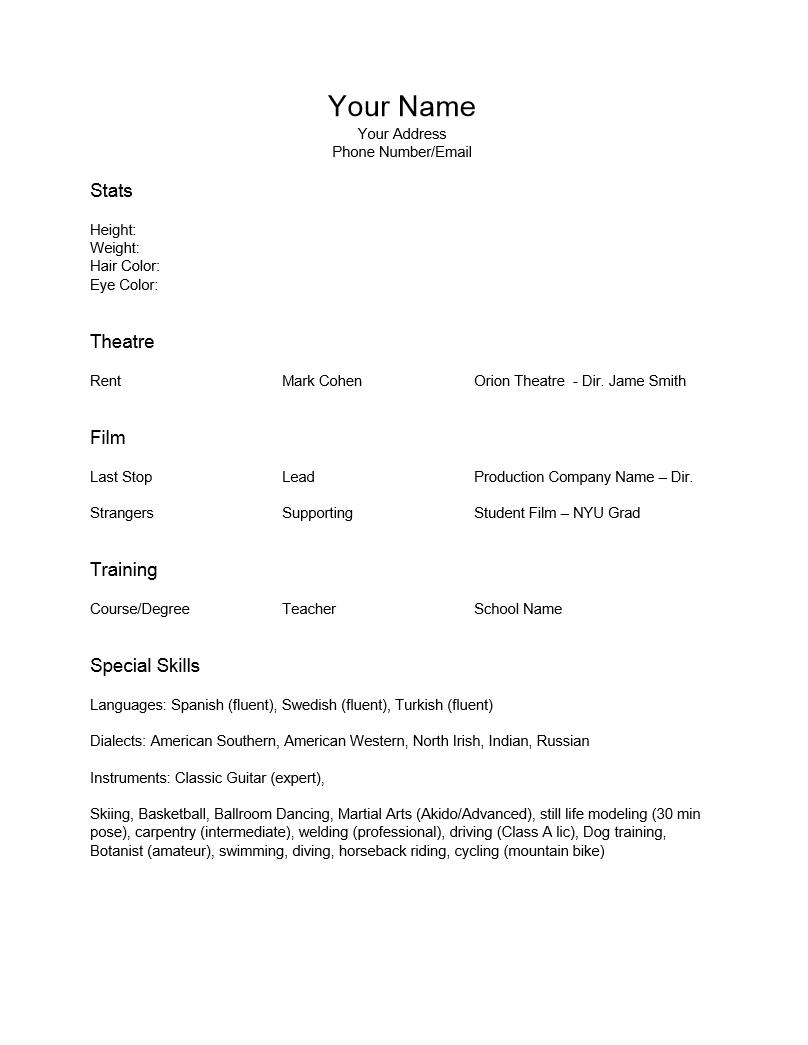 Beginner Acting Resume Template Word