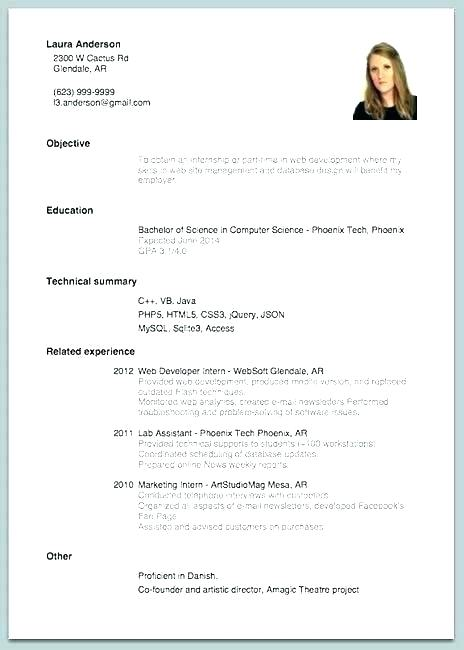 Beginner Resume Template For Students