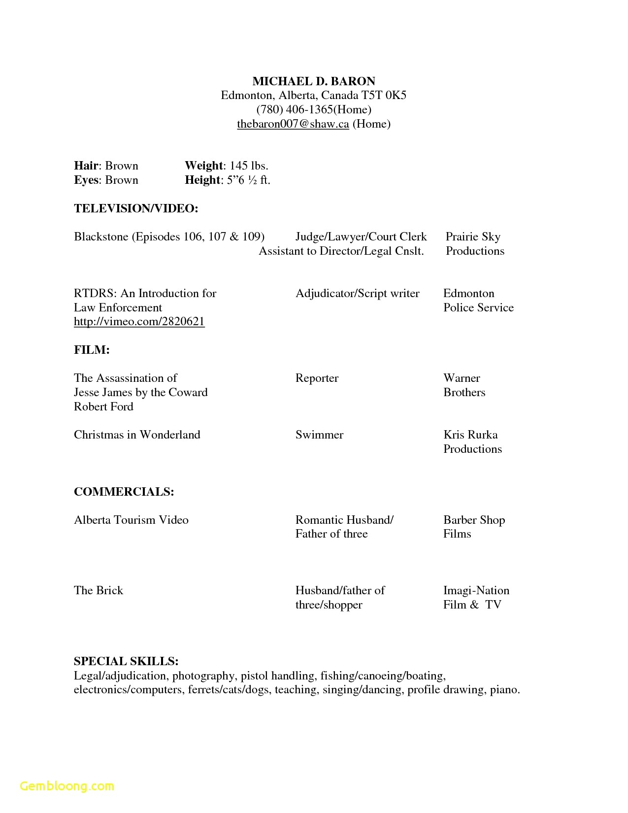 Beginners Acting Resume Template No Experience