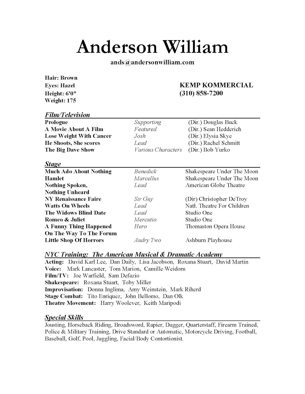 Beginning Child Actor Resume Template