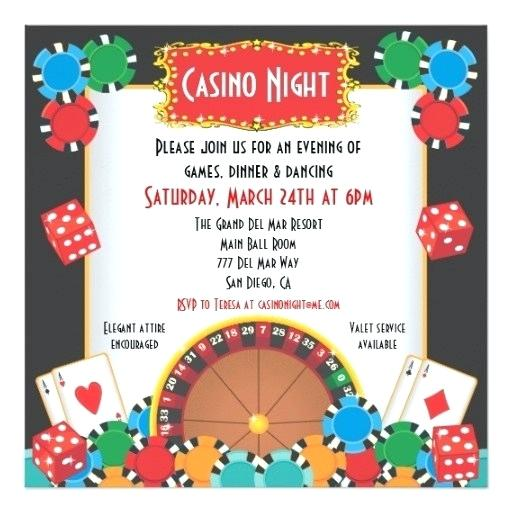 Blank Casino Theme Party Invitations Template Free
