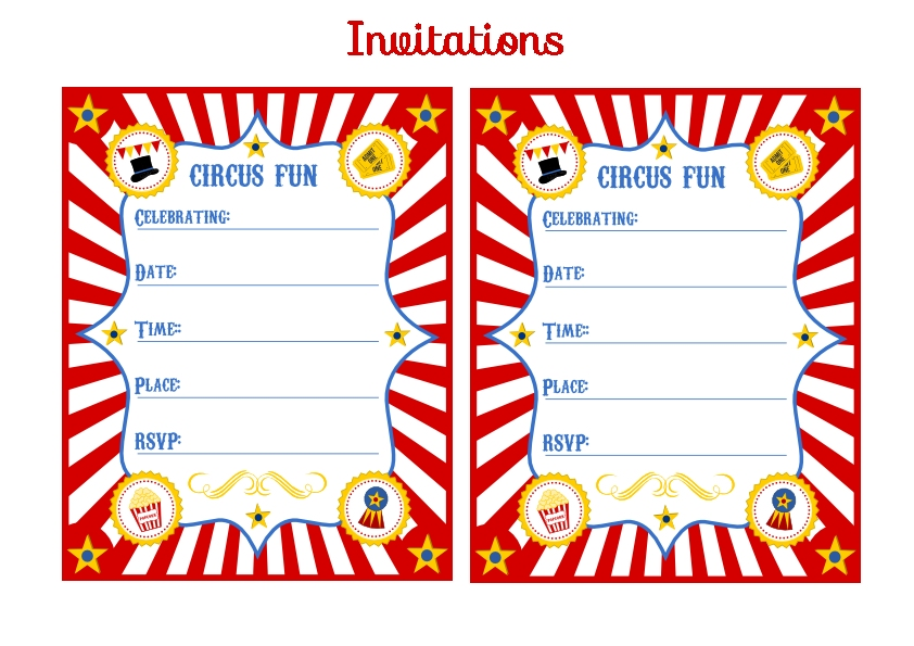 Blank Circus Invitation Template Free