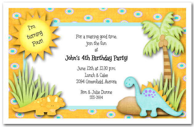 Blank Dinosaur Birthday Invitation Template