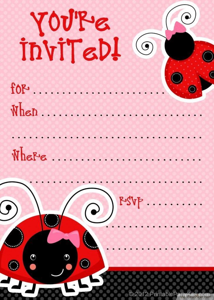 Blank Ladybug Invitation Template